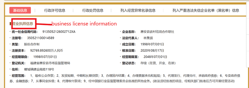 business license info